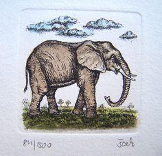 ♥Dickhäuter♥ - Original-Radierung, Elefant, kol. von Sammel-Leidenschaft auf DaWanda.com