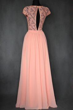 Šaty - Spoločenské šaty s holým chrbátom farba lososová - 7513619_