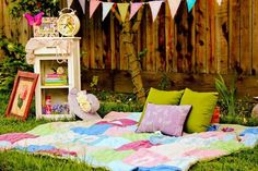 """Love the idea of different little """"areas"""" in a backyard for a party..."""