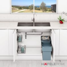 Are you looking for storage solutions for the under sink cabinet? Look no further, Hafele Home has different versions of the Portero set in store for you which might be all you are looking for. See all kitchen storage solutions by Häfele on Hafele Home! Kitchen Sinks, New Kitchen, Kitchen Ideas, Kitchen Cabinets, Kitchen Interior, Kitchen Design, Waste Solutions, Kitchen Storage Solutions, Under Sink