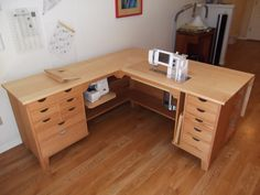 U003cpu003eThis Sewing Unit Features A Red Oak Base With A Maple Top That