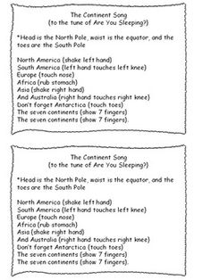 7 CONTINENTS AND 4 OCEANS SONGS   TeachersPayTeachers.com