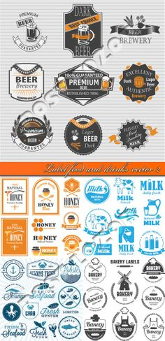 Label food and drinks vector 2