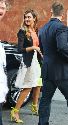 Jessica Alba at a Book Signing in Santa Monica...neon top