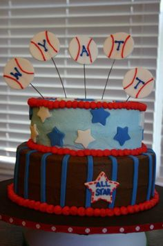 All-star baseball baby shower cake in brown and blue with red accents