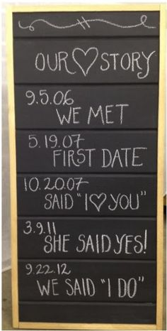 DIY Wedding Decorations - Love Story Sign  - Super cute! And once wedding is over, can erase and use for other messages if wanted!