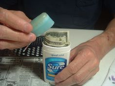 Need a place to hide your money or valuables? Keep them in plain site, at home, or while traveling. Also, more great uses for old deoderant sticks!