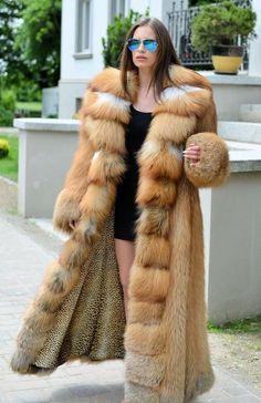 Stupendous red fox fur coat