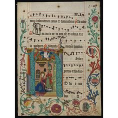 Manuscript - Leaf from an Antiphoner with historiated initial H  Date: 1490 (illuminated)  Place: Mainz (Rheinland-Pfalz)
