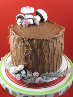 tree log cake with mushrooms
