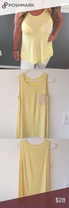 Yellow lace pocket tank Perfect for summer! Tops Tank Tops