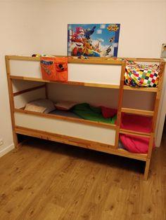 Kura bed hack. I've used two kura bed, creating a drawer space below.