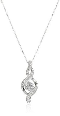"""ON SALE now at http://JewelryDealsNow.com/?a=B007SS3OZA : 10k White Gold Diamond Infinity Pendant Necklace (1/4 cttw), 18"""""""