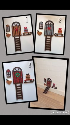 Mouse House perler beads – Famous Last Words Quilting Beads Patterns Perler Bead Designs, Hama Beads Design, Pearler Bead Patterns, Perler Bead Art, Perler Patterns, Quilt Patterns, Noel Christmas, Christmas Crafts, Christmas Perler Beads