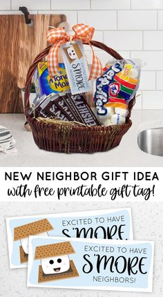 New Neighbor Printable Gift Tag Welcome Gift Basket, Welcome Home Gifts, Welcome Baskets, New Home Gifts, Gifts For Family, Easy Gifts, Homemade Gifts, Cute Gifts, Funny Gifts