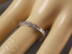 1930s White  Gold Band Ring 3mm Etched Flower by estatejewelryshop, $300.00