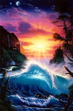 Dawn of Light Beautiful Nature Pictures, Beautiful Artwork, Beautiful Landscapes, Scenery Pictures, Art Pictures, Water Art, Fantasy Kunst, Tropical Art, Surf Art