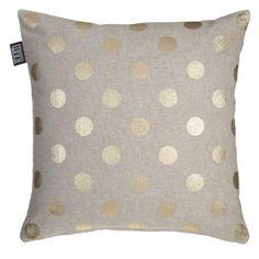 Decoratiekussen KAAT Gold rush Gold - NIEUWE COLLECTIE   Cushion KAAT   http://www.livengo.nl/beddengoed/sierkussens   #sierkussen #goud #stippen #slaapkamer #livengo