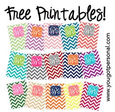 DIY Free printable monogrammed chevron binder covers - add your own monogram. Comes in several different colors!! You can also use these for wallpaper on your phone!