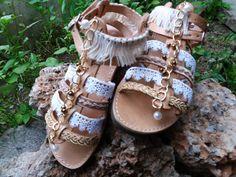 Boho chic decorated handmade sandals Greek by Byhandtoheart