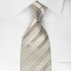 Nina Ricci Mens Silk Rhinestone Tie Silver Striped On White