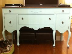 Latest project for the home - repurposed buffet, media cabinet in robin's egg blue
