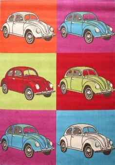 """Children's Retro Funky Rug - Design 4 - 'VW Beetle / Bug' - 120x170cms (4' x 5'7"""" Approx) - *UK Only* - due to size/weight restrictions. *Not Eire*.: Amazon.co.uk: Kitchen & Home"""