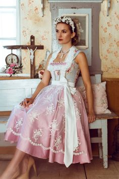 Things I simple adore. Lovely thing, beauty, fashion, and other content of adult nature. Drindl Dress, Pink Dress, Flower Girl Dresses, Traditional Fashion, Traditional Dresses, German Fashion, Feminine Dress, Best Model, Sweet Dress