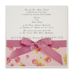 Layered Square Rose and Polka Dot Invitation with Bow