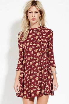 Rose Print Babydoll Dress | Forever 21. Back button, little open, nice accessories, comfy.