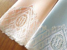 "BEAUTIFUL Pair Linen Towels Belgian LACE Monogram ""M"" Needle Lace HIS & HER #2"