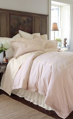 Mariella duvet cover with hand-embroidered floral crewelwork in soft ivory. : Soft Surroundings