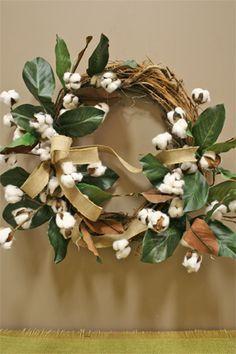 cotton and magnolia wreath