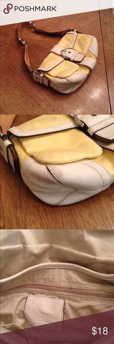Coach 1879 Yellow White Canvas Shoulder bag Some wear, see pictures, great for spring. Coach Bags Shoulder Bags