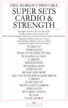 The benefits of strength training and cardio in one heart pumping, calorie burning, muscle building workout. Alternate strength and cardio to keep your heart rate high as you sculpt your arms, abs and legs. Pin it for later and download the free workout printable at Jill Conyers | Fitness Health & Happiness