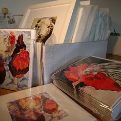 Framed prints and greetings cards all packed up ready to go to the lovely Herriot's Gallery in Hawes.