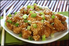 Hungry Girl's sweet 'n sticky sesame chicken. 288 calories, 37g protein.