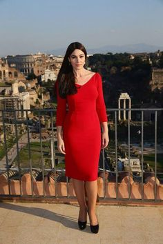 Monica Bellucci wearing Dolce&Gabbana during a photocall to promote the 24th James Bond film 'Spectre' in Rome on February 18, 2015