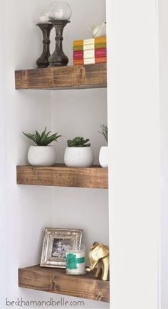 DIY Chunky Stained Wood Shelves. These versatile yet beautiful shelves could work almost anywhere in any room! Choose your favorite Rust-Oleum Wood Stain color and personalize your shelves. http://www.rustoleum.com/product-catalog/consumer-brands/wood-care/ultimate-wood-stain/