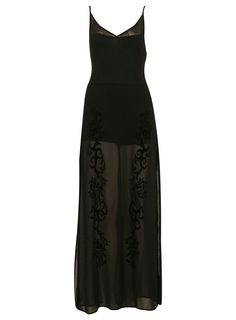 Black maxi dress with side splits, adjustable straps and flocking