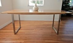 Industrial Dining Table: Wood and Steel