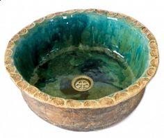 Turquoise ceramic sink