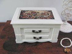 Musical Jewelry Box Antique White Vintage Jewelry Box Cream