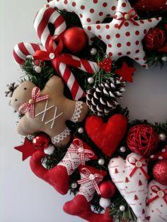 *Kranz*Weihnachten*Lebkuchenmann*Zuckerstangen*Stiefel*Elch*nach Tilda*ROT*   eBay