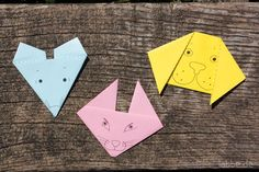 Origami paper animals mouse, cat and dog