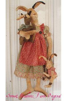 Primitive PATTERN BIG Bunny Doll with Little by SweetMeadowsFarm, $10.50