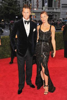 The 2012 Met Gala Red Carpet Tom Brady wears a Tom Ford suit, and Gisele wears a Givenchy Haute Couture dress and David Yurman jewelry
