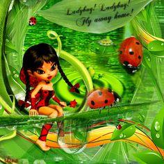 Ladybug! Ladybug! Fly away home! ... Cookie Doll Fairy Blingee created by stina scott