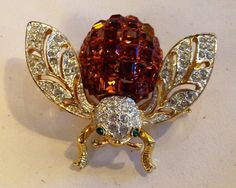 Vintage Bumble Bee Brooch Pin Orange Gold Rhinestone by GreenBeeKC, $24.95