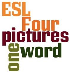 ESL Kids Games Four Pictures One Word Game This English conversation and critical thinking skills game could be adapted for many age groups and English proficiency levels, but the instructions as-is are for pre-intermediate+ ELLs. The page also includes a link to a Level 2 for this game, as well as links to more games by this site. The game involves asking ELLs to work in teams to guess what word connects 4 different pictures.